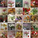 Ζωή χώρας ακόμα με τα λουλούδια και τα φρούτα κολάζ Στοκ Φωτογραφίες
