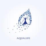Ζωή Aqua, λογότυπο νερού, υγιές λογότυπο τρόπου ζωής Στοκ εικόνα με δικαίωμα ελεύθερης χρήσης