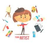 Ζωγράφος καλλιτεχνών αγοριών, παιδιών μελλοντική απεικόνιση επαγγέλματος ονείρου επαγγελματική με σχετικός με τα αντικείμενα επαγ διανυσματική απεικόνιση