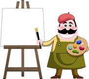 Ζωγράφος καλλιτεχνών και Easel τέχνης ελεύθερη απεικόνιση δικαιώματος