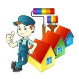 Ζωγράφος με τα εργαλεία και στο σπίτι διανυσματική απεικόνιση