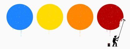 Ζωγράφος που χρωματίζει τέσσερις κενούς κύκλους στον τοίχο διανυσματική απεικόνιση