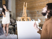 Ζωγράφος στην εργασία Στοκ Φωτογραφίες
