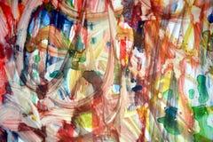 Ζωγραφικής κεριών ζωηρόχρωμη σύσταση παφλασμών watercolor ρόδινη πράσινη πορτοκαλιά χρυσή, θολωμένο δημιουργικό σχέδιο Στοκ Εικόνες