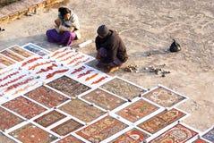 Ζωγραφική άμμου στη Myanmar Στοκ Φωτογραφίες