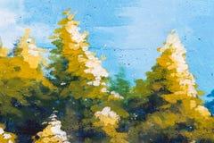 Ζωγραφική δέντρων σε έναν συμπαγή τοίχο Στοκ φωτογραφίες με δικαίωμα ελεύθερης χρήσης