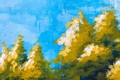 Ζωγραφική δέντρων σε έναν συμπαγή τοίχο Στοκ Εικόνα