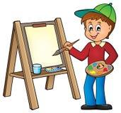 Ζωγραφική αγοριών στον καμβά 1 ελεύθερη απεικόνιση δικαιώματος