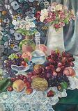Ζωγραφική ακόμα-ζωής με την ανθοδέσμη και τα juicy φρούτα διανυσματική απεικόνιση