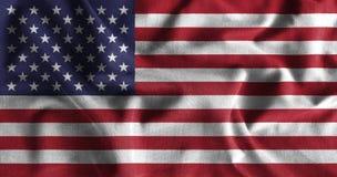 Ζωγραφική αμερικανικών σημαιών στην υψηλή λεπτομέρεια των υφασμάτων βαμβακιού κυμάτων Στοκ Φωτογραφίες