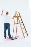 Ζωγραφική ατόμων από τη σκάλα βημάτων στο άσπρο υπόβαθρο Στοκ Εικόνες