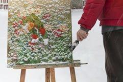 Ζωγραφική ατόμων στο Winter Park Στοκ Εικόνα