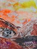 Ζωγραφική, βουνό διανυσματική απεικόνιση