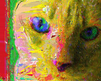 Ζωγραφική γατών Στοκ φωτογραφίες με δικαίωμα ελεύθερης χρήσης