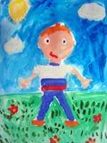 Ζωγραφική ενός αγοριού - που γίνεται από το παιδί ελεύθερη απεικόνιση δικαιώματος