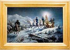Ζωγραφική ενός περίκομψου επιχρυσωμένου ελκήθρου στο χιόνι στοκ φωτογραφίες