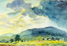 Ζωγραφική ζωηρόχρωμη της ηλιόλουστης βροχής και της συγκίνησης στο μπλε βουνό απεικόνιση αποθεμάτων