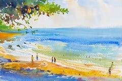 Ζωγραφική ζωηρόχρωμη της παραλίας και της άμμου ελεύθερη απεικόνιση δικαιώματος