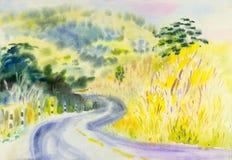 Ζωγραφική ζωηρόχρωμη του βουνού και της συγκίνησης στο υπόβαθρο ουρανού ελεύθερη απεικόνιση δικαιώματος