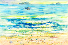 Ζωγραφική ζωηρόχρωμη των αντανακλάσεων στο νερό και τη συγκίνηση διανυσματική απεικόνιση