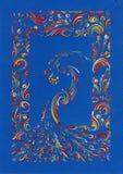 Ζωγραφική - κάρτα με το σχέδιο και το σκοτάδι λαογραφίας Στοκ Εικόνα