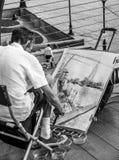 Ζωγραφική καλλιτεχνών στη γέφυρα χιλιετίας στο Λονδίνο - το ΛΟΝΔΙΝΟ - τη ΜΕΓΑΛΗ ΒΡΕΤΑΝΊΑ - 19 Σεπτεμβρίου 2016 Στοκ φωτογραφία με δικαίωμα ελεύθερης χρήσης