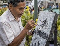 Ζωγραφική καλλιτεχνών στην οδό στο Καράκας Βενεζουέλα Πορτρέτο Στοκ Εικόνες