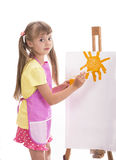 Ζωγραφική κοριτσιών πέρα από το λευκό στοκ φωτογραφία