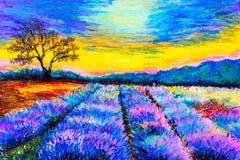 Ζωγραφική κρητιδογραφιών - Lavender τομέας στην Προβηγκία, Γαλλία απεικόνιση αποθεμάτων