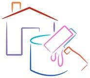 ζωγραφική λογότυπων σπιτ& διανυσματική απεικόνιση