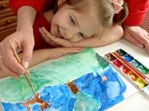 ζωγραφική μαθήματος Στοκ εικόνες με δικαίωμα ελεύθερης χρήσης