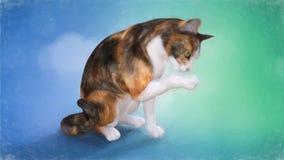 Ζωγραφική μιας χαριτωμένης γάτας που γλείφει το πόδι του ελεύθερη απεικόνιση δικαιώματος