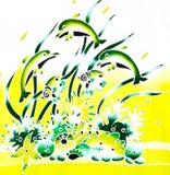 Ζωγραφική μπατίκ - υποθαλάσσια, dugong Στοκ εικόνα με δικαίωμα ελεύθερης χρήσης