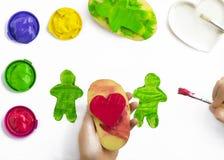 Ζωγραφική παιχνιδιού με τα γραμματόσημα potatoe Στοκ Εικόνες