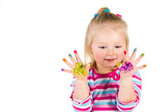 Ζωγραφική παιδιών με τα δάχτυλα Στοκ Εικόνες