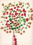Ζωγραφική παιδιών του δέντρου με τα φύλλα που γίνονται από τη βούρτσα watercolor Στοκ εικόνα με δικαίωμα ελεύθερης χρήσης