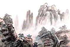 Ζωγραφική παραδοσιακού κινέζικου, τοπίο, δέντρα ελεύθερη απεικόνιση δικαιώματος