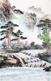 Ζωγραφική παραδοσιακού κινέζικου, τοπίο διανυσματική απεικόνιση