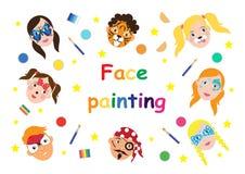 Ζωγραφική προσώπου για τη συλλογή παιδιών σύνολο εικονιδίων στο επίπεδο ύφος κινούμενων σχεδίων για το έμβλημα, αφίσα υπόβαθρο δι διανυσματική απεικόνιση