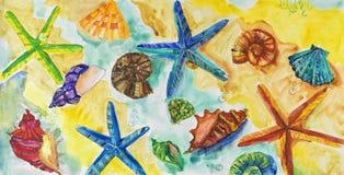 Ζωγραφική σε χαρτί της υποβρύχιας ζωής ` s Στοκ Εικόνες