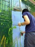 ζωγραφική σπιτιών Στοκ φωτογραφία με δικαίωμα ελεύθερης χρήσης