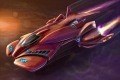 Ζωγραφική τέχνης έννοιας του φουτουριστικών διαστημικού σκάφους ή των αεροσκαφών ελεύθερη απεικόνιση δικαιώματος