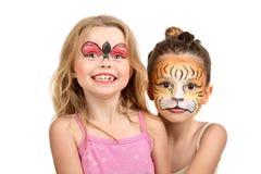 Ζωγραφική, τίγρη προσώπου και ladybug Στοκ Εικόνα