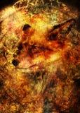 Ζωγραφική της άγριας κόκκινης αλεπούς Διακοσμητικό υπόβαθρο στοκ φωτογραφίες