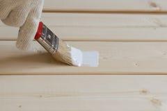 Ζωγραφική της ξύλινης επένδυσης του πεύκου Στοκ εικόνες με δικαίωμα ελεύθερης χρήσης