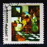 ζωγραφική της συναυλίας  μέχρι τον Ιανουάριο Vermeer 1632-1675, χρυσό πλαίσιο έργων ζωγραφικής serie, circa 1972 Στοκ Φωτογραφίες