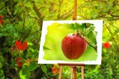 Ζωγραφική της Apple στον οπωρώνα Στοκ Εικόνες