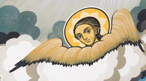 Ζωγραφική τοίχων - άγγελος Στοκ φωτογραφία με δικαίωμα ελεύθερης χρήσης