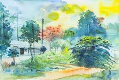Ζωγραφική τοπίων ζωηρόχρωμη του πράσινου δέντρου και της συγκίνησης ελεύθερη απεικόνιση δικαιώματος