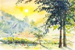 Ζωγραφική τοπίων Watercolor ζωηρόχρωμη του βουνού και της συγκίνησης διανυσματική απεικόνιση